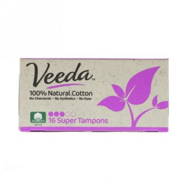 Veeda, 100% Natural Cotton Tampon, Super, 16 Tampons (Discontinued Item)