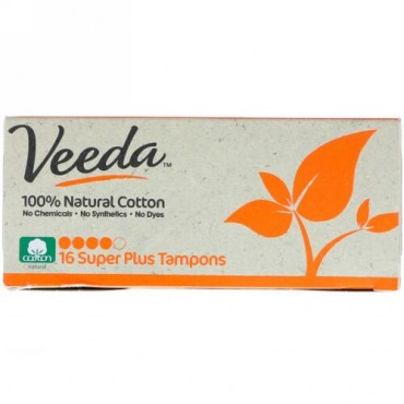 Veeda, 100% Natural Cotton Tampon, Super Plus, 16 Tampons (Discontinued Item)