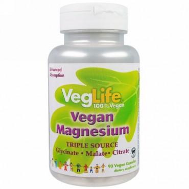 VegLife, ビーガンマグネシウム, トリプルソース, 90錠 (ベジカプセル)
