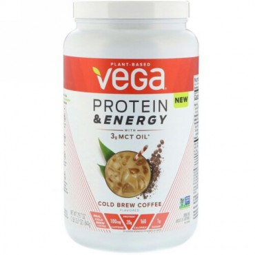 Vega, Protein & Energy, Cold Brew Coffee, 1.85 lbs (841 g) (Discontinued Item)
