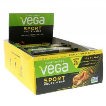 Vega, Sport Protein Bar, Crunchy Peanut Butter, 12 Bars, 2.5 oz (70 g) (Discontinued Item)