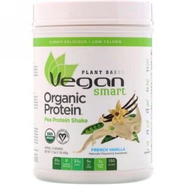 VeganSmart, オーガニックエンドウ豆プロテインシェイク、フレンチバニラ、17.3オンス (490 g) (Discontinued Item)