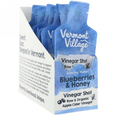 Vermont Village, Organic, Apple Cider Vinegar Shot, Blueberries & Honey, 12 Pack, 1 oz (28 g) Each (Discontinued Item)