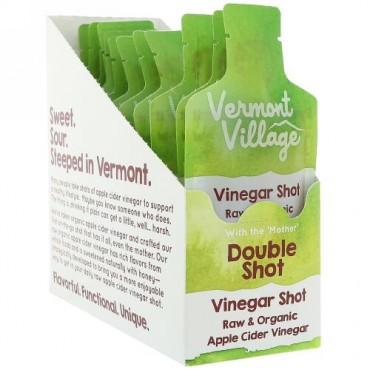Vermont Village, オーガニック、アップルサイダービネガーショット、ダブルショット、12袋、各1 oz (28 g) (Discontinued Item)