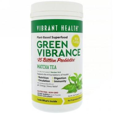 Vibrant Health, グリーンバイブランス+250億のプロバイオティクス、バージョン16.0、抹茶、11.88 oz (336.75 g) (Discontinued Item)
