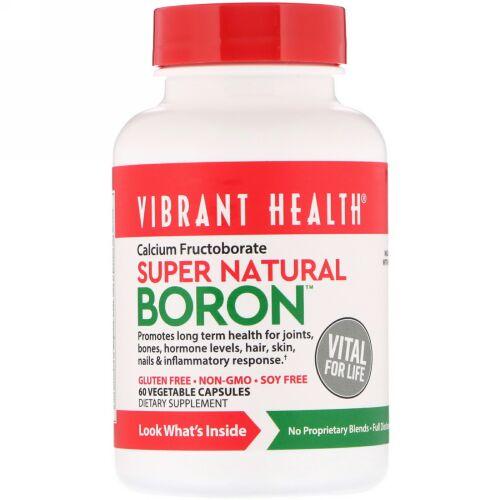 Vibrant Health, スーパーナチュラルボロン(ホウ素)、植物性カプセル60錠
