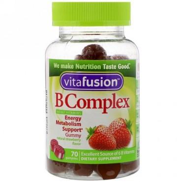 VitaFusion, B複合体ビタミン、天然イチゴ味、70粒 (Discontinued Item)