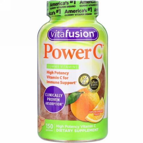 VitaFusion, Power C(パワーC)、高濃度ビタミンC、天然オレンジ味、グミ150粒