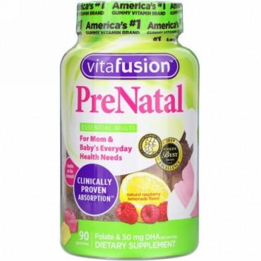 VitaFusion, PreNatal, Folate & DHA, Natural Raspberry Lemonade Flavor, 90 Gummies