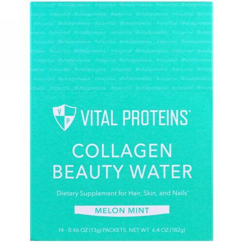 Vital Proteins, コラーゲンビューティウォーター、メロンミント、14パケット、各0.46 oz (13 g) (Discontinued Item)