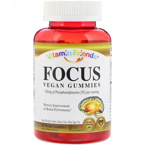 Vitamin Friends, Focus, Vegan Gummies, Natural Berry Flavor, 60 Pectin Gummies (Discontinued Item)