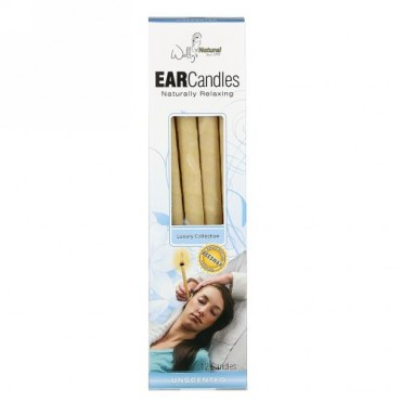 Wally's Natural, Beeswax Ear Candles, Luxury Collection, Unscented, 12 Candles