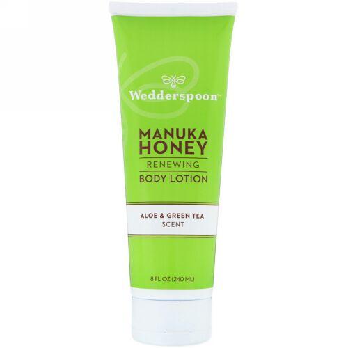 Wedderspoon, Manuka Honey, Renewing Body Lotion, Aloe & Green Tea Scent, 8 fl oz (240 ml) (Discontinued Item)
