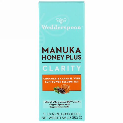 Wedderspoon, Manuka Honey Plus, Clarity, Chocolate Caramel with Sunflower Seedbutter, 5 Pouches, 1.1 oz (30 g) Each (Discontinued Item)