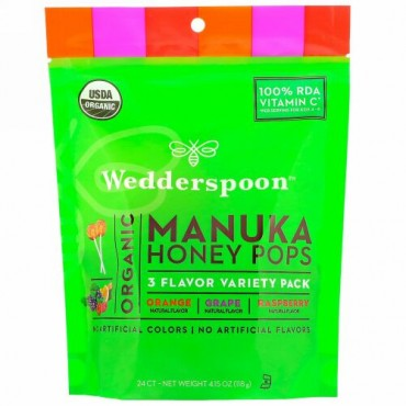 Wedderspoon, オーガニックマヌカハニー  ポップ, 3種類のフレーバーのバラエティーパック, 24 カウント, 118g(4.15 oz)