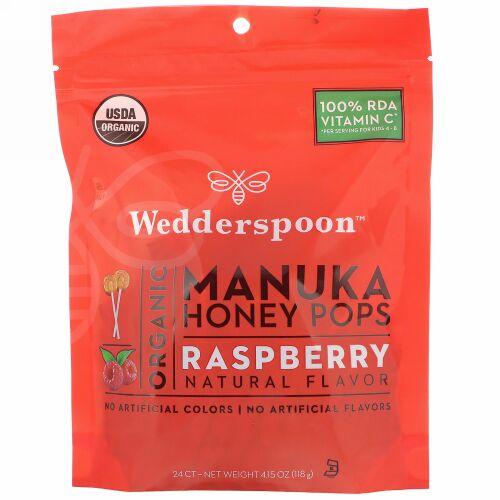 Wedderspoon, Organic Manuka Honey Pops, Raspberry, 24 Count, 4.15 oz (118 g) (Discontinued Item)