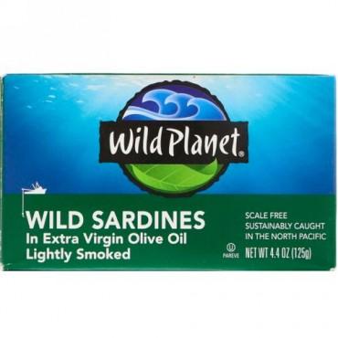 Wild Planet, 天然イワシ、エキストラバージンオリーブオイル漬け、軽く燻製済み、4.4 oz (125 g)