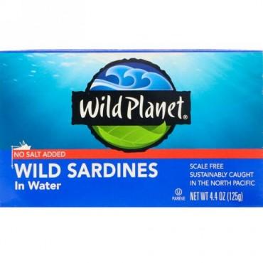 Wild Planet, 天然イワシ水煮、食塩無添加、4.4 oz (125 g)