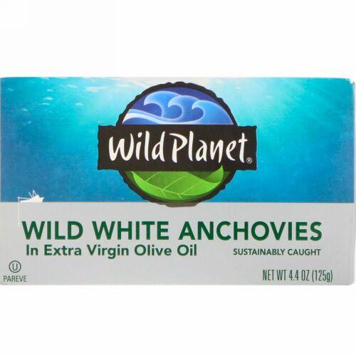 Wild Planet, ワイルドホワイトアンチョビ・エキストラバージンオリーブオイル漬け、4.4 oz (125 g)