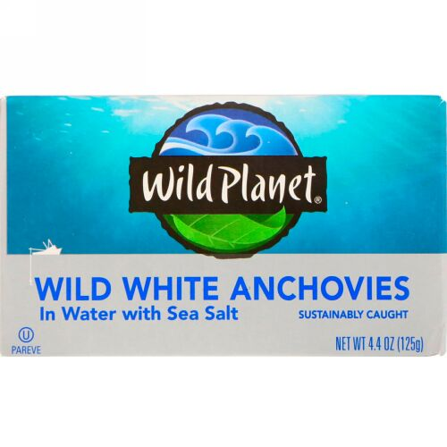 Wild Planet, 天然ホワイトアンチョビ・塩水漬け、4.4 oz (125 g)