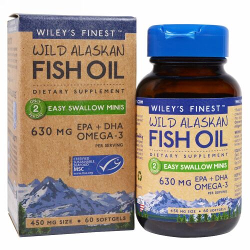 Wiley's Finest, Wild Alaskan Fish Oil, Easy Swallow Minis, 630 mg, 60 Softgels