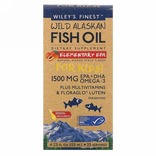 Wiley's Finest, Wild Alaskan Fish Oil, For Kids!, Elementary EPA, Natural Mango Peach Flavor, 1,500 mg, 4.23 fl oz (125 ml)