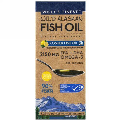 Wiley's Finest, ワイルドアラスカンフィッシュオイル、コーシャフィッシュオイル、ナチュラルレモンフレーバー、4.23液量オンス (125 ml) (Discontinued Item)