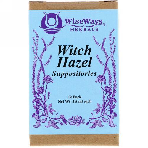 WiseWays Herbals, ウィッチヘーゼルの坐薬、12袋、1袋ごとに2.5ml