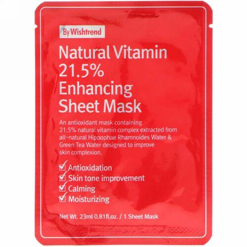 Wishtrend, Natural Vitamin 21.5% Enhancing Sheet Mask, 1 Sheet, 0.81 fl oz (23 ml)