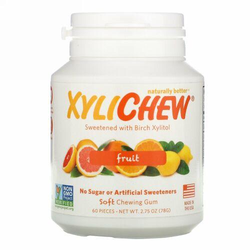Xylichew, バーチキシリトールによって自然に甘味がつけられたガム、フルーツ、60粒