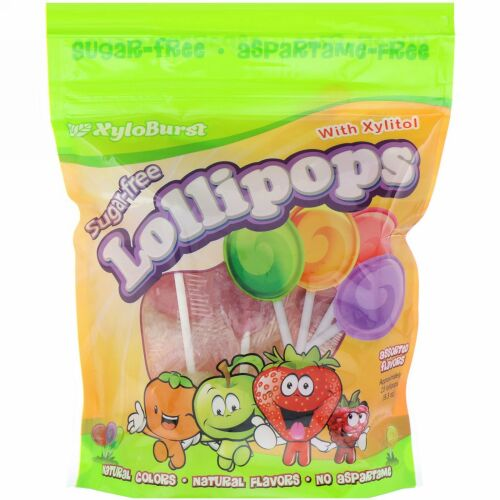 Xyloburst, Sugar-Free Lollipops with Xylitol, Assorted Flavors, Approximately 25 Lollipops (9.3 oz)