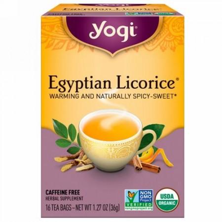 Yogi Tea, エジプトリコリス(甘草), カフェインフリー, 16ティーバッグ, 1.27oz(36 g)