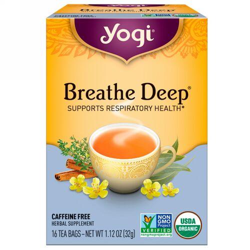 Yogi Tea, オーガニック, ブリーズディープ, カフェインフリー, 16ティーバッグ, 1.12oz(32 g)