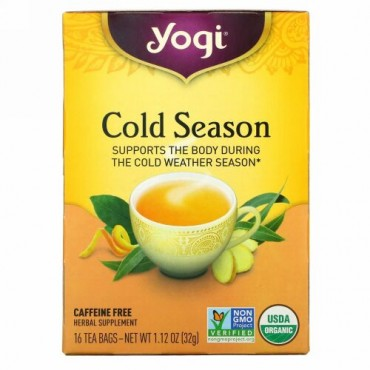Yogi Tea, オーガニック, 寒い季節, カフェインフリー, 16ティーバッグ, 1.12オンス(32 g)