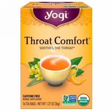 Yogi Tea, オーガニック, スロートコンフォート, カフェインフリー, 16ティーバッグ, 1.27oz(36 g)