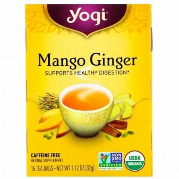Yogi Tea, オーガニックマンゴージンジャー、カフェインフリー、16袋、32g(1.12オンス)