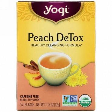 Yogi Tea, ピーチデトックス、カフェインフリー、ティーバッグ16個、32g(1.12オンス)