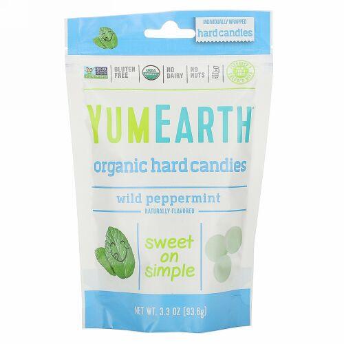 YumEarth, オーガニック ハード キャンディー、ワイルド ペパーミント、3.3 oz (93.6 g)