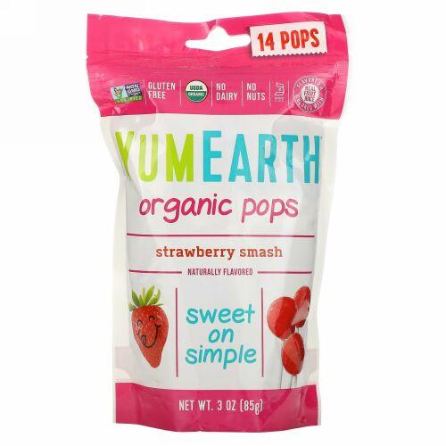 YumEarth, オレンジストロペリーポップス、ストロベリースマッシュ、14ポップス、 3 oz (85 g)