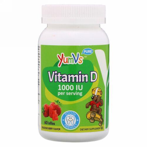 YumV's, Vitamin D, Delicious Berry Flavor, 1,000 IU, 60 Jellies