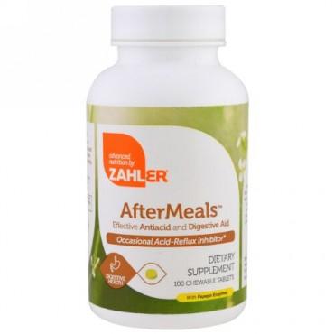 Zahler, アフターミール、効果的な制酸剤・消化補助剤、100チュアブル錠