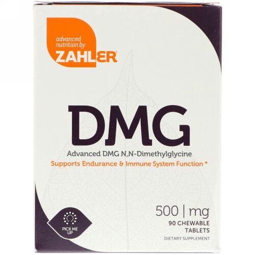 Zahler, DMG、高度なDMG N, N-ジメチルグリシン、500 mg、90チュアブル錠
