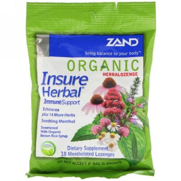 Zand, Organic HerbaLozenge, Insure Herbal, 18 Mentholated Lozenges