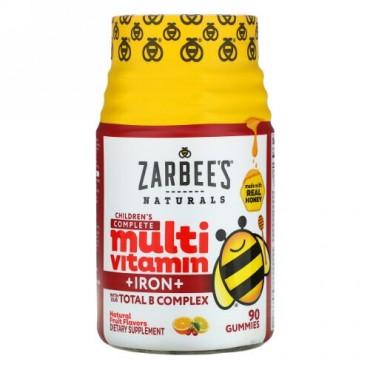 Zarbee's, 子供用完全マルチビタミン + 鉄分、天然フルーツフレーバー、90グミ