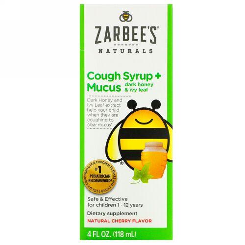 Zarbee's, Children's Cough Syrup + Mucus, Dark Honey & Ivy Leaf,  For Children 12 Months+, Natural Cherry Flavor, 4 fl oz (118 ml)
