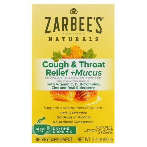 Zarbee's, 咳・痰・喉のリリーフ、昼用ドリンクミックス、天然レモン味、6袋、各3.4 oz (96 g)