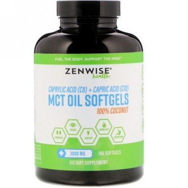 Zenwise Health, 100% Coconut MCT Oil, 3,000 mg, 180 Softgels (Discontinued Item)