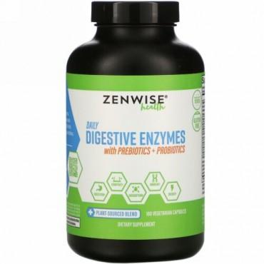 Zenwise Health, プレバイオティクス+プロバイオティクスを含む毎日の消化酵素、ベジタリアンカプセル180錠