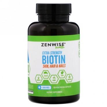 Zenwise Health, Extra-Strength Biotin, 5,000 mcg, 120 Vegetarian Capsules (Discontinued Item)