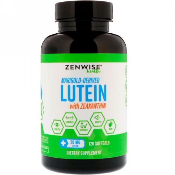 Zenwise Health, マリーゴールド由来のルテイン、ゼアキサンチン、20mg、ソフトゲル120粒 (Discontinued Item)